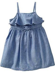 Old Navy Ruffled Chambray Sundress Baby Girl Dress Patterns, Little Girl Dresses, Baby Dress, Girls Dresses, Little Girl Fashion, Kids Fashion, Kids Wardrobe, Frock Design, Princess Outfits