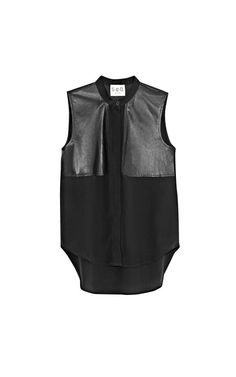 Sleeveless Wool Crepe & Leather Top by Sea