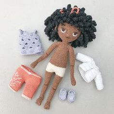 Molly amigurumi crochet doll pattern african american black doll available on etsy from LittleBeauMouse