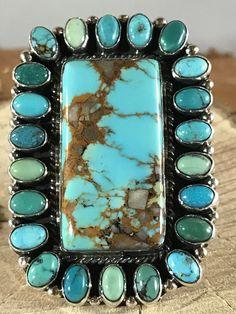 NAVAJO -HUGE ~BLUE KINGMAN TURQUOISE ~STERLING ~RING~GERALDINE JAMES  | eBay