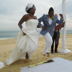 "This summer, Mignon and Elaine got married and ""jumped the broom,"" an important wedding tradition for African-American couples. Congratulate the couple by reading their beautiful story! Lesbian Wedding, Lesbian Love, Lesbian Couples, Jumping The Broom, African Traditional Wedding, Two Brides, African American Weddings, Black Bride, Love And Marriage"