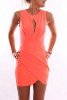 Neon coral wrap dress