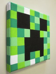 Minecraft Creeper Painting on Canvas by NestalgicBits on Etsy,