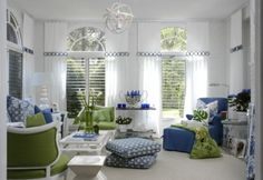 nice mix of color in a white room..