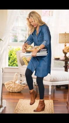 Tencel Denim Shirt Dress from Soft Surroundings How To Wear Ankle Boots, How To Wear Leggings, Dresses With Leggings, Black Leggings, Short Boots Outfit, Ankle Boots Leggings, Short Boots With Dresses, Brown Wedges Outfit, Ankle Booties