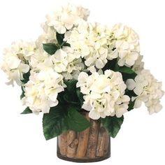 Faux Hydrangea Arrangement in Birch-Filled Vase