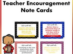 Boost teacher and staff morale with these encouragement cards. These cards include inspirational quotes to motivate teachers and inspire them to continue t. Teaching Materials, Teaching Resources, Staff Morale, Powerpoint Format, Motivational Quotes, Inspirational Quotes, New Teachers, Be Yourself Quotes, Note Cards