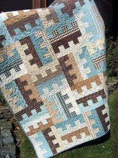 blue browns... like this color combo... but can make it in lots of color variations.....looks like a puzzle!