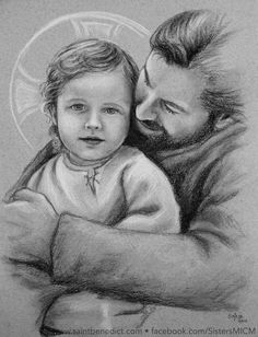 Unique charcoal drawing of Saint Joseph and the Christ Child by Sister Marie-Bernard, MICM ©Sisters, Slaves of the Immaculate Heart of Mary. Saint Benedict Center, Still River, MA. www.saintbenedict.com facebook.com/SistersMICM