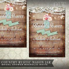 rustic bridal shower invitation mason jar by on etsy
