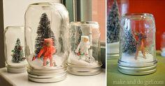 DIY mason jar snow globe tutorial. Super easy, super crafty Christmas decor idea and a great project to do with kids!| MakeAndDoCrew.com