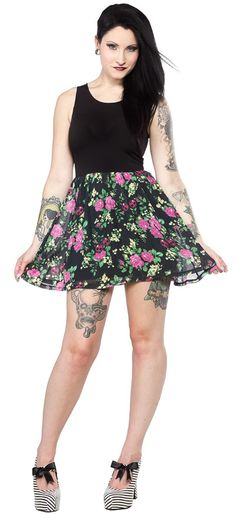 NEW BREED GIRL CHERRY FLORAL DRESS Looking for an adorable dress that's easy to wear and sickeningly sweet? This flower and skull cherry print chiffon dress from New Breed Girl is just what you need to show off your cute and sassy side! Features a stretch black under dress with chiffon skirt overlay. $36.00 ⭐️