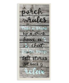 Look what I found on #zulily! Distressed-Print 'Porch Rules' Wall Art #zulilyfinds