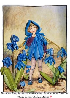 The Scilla Fairy from Cicely Mary Barker's Flower Fairies, embroidered by Marina Zherdeva from Moscow