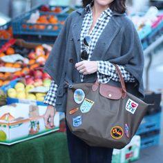 Gingham & groceries. // diy longchamp medium le pliage // Brussels, Belgium