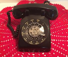 Black Western Electric Desk Telephone LM by CountryGirlsVintage