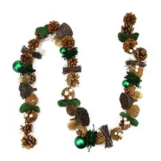 5' Green Burlap Pine Cone and Berry Artificial Christmas Garland - Unlit