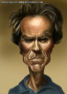 Clint Eastwood by Andrian Lubbers Cartoon Faces, Funny Faces, Cartoon Drawings, Cartoon Art, Funny Caricatures, Celebrity Caricatures, Celebrity Drawings, Caricature Artist, Caricature Drawing