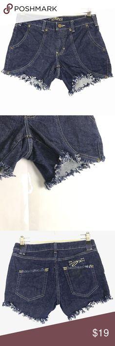 Pzi Jeans Womens Dark Fringe Fray Mini Cut Off Den