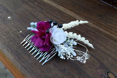 FloralFlairware purple and white flower hair by FloralFlairware