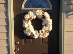 I made this fabric flower wreath from bits I had laying around.