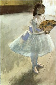 Dancer with a Fan - Edgar Degas Completion Date: 1879 Style: Impressionism Genre: genre painting Technique: pastel Gallery: Private Collection