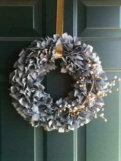 Grey Fabric Rag Wreath with Branch of White by BeccasCraftyCorner, $25.00