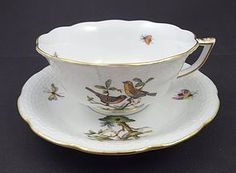 8 Vintage Herend Rothschild Tea Cups & Saucers
