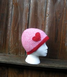 I heart pink and red crochet hat cloche with heart by luvbuzz,