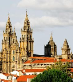 Cathedral of Santiago of Compostel, Spain | Amazing Photography Of Cities and Famous Landmarks From Around The World Beautiful Castles, Beautiful Places, Travel Around The World, Around The Worlds, Spain Travel Guide, Largest Countries, Famous Landmarks, Going On Holiday, Spain And Portugal