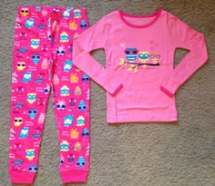 New The Children Place Owl Cotton Pajamas Set Pink Size 6 NIP TCP
