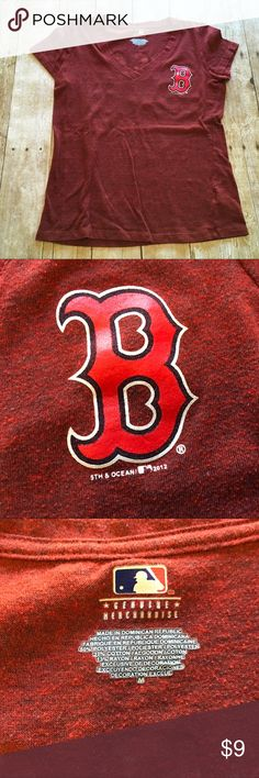 "Boston Red Sox women's V-neck T-shirt ❤️Condition: good use, minor pilling ❤️Brand: 5th & ocean ❤️Size:  medium ❤️Color(s): red, blue ❤️Materials: 50% polyester/37% cotton/13% rayon ❤️Measurements: --laying flat--      Waist  18""      Bust  18"" across chest      Total length 22"" shoulder to bottom hem  ❤️Notes: 💕💕Bundle and save!!!!💕💕 💕💕All reasonable offers are considered!!!!!💕💕 5th & Ocean Tops"