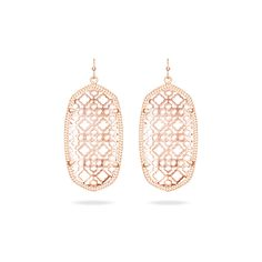 Danielle Rose Gold Earrings with Rose Gold Filigree - Kendra Scott Jewelry.