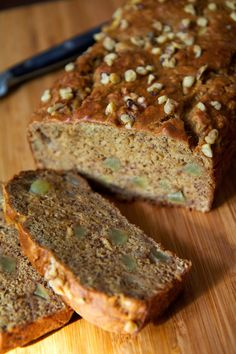 Vegan Banana Apple Chunk Bread - Made with less sugar than a traditional loaf, it's still so naturally sweet from the bananas, apples, and applesauce that it's perfect for a healthy breakfast,, This quick bread is also vegan, so the health-minded you will appreciate that each piece is much lower in fat and calories — just 147 per slice