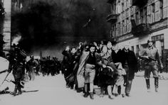 Jewish Civilians during Destruction of Warsaw Ghetto, 1943 by Unknown Artist