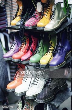 Stock Photo : Trendy shoes at Camden Market. London. England