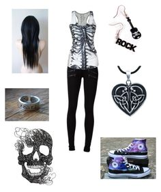Skeletons- Heartist! by evilangel16 on Polyvore featuring polyvore, fashion, style, Paige Denim and Converse