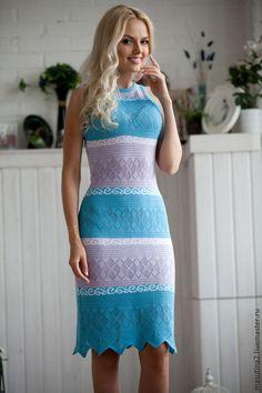 """Купить Платье """"Нежная музыка"""" - голубой, летнее платье, голубое платье, сиреневое платье"""