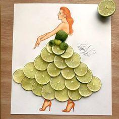 Lime Slices Illustration by Edgar Artis Fashion Design Drawings, Fashion Sketches, Unique Drawings, Art Drawings, Arte Fashion, Fashion Illustration Dresses, Fashion Illustrations, Illustration Mode, Creative Artwork