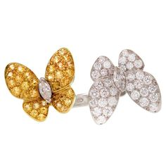 1stdibs.com | VAN CLEEF & ARPELS Two Butterfly  Diamond Sapphire Ring