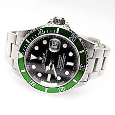 GREEN ROLEX SUBMARINER WATCH STEEL 16610 2003 F-SERIAL BOXES PAPERS