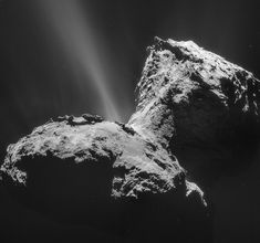 Rosetta photo of Comet 67P/C-G.  Jan. 31 The comet's head, neck and back are sunlit in this image taken from 17 miles away. A prominent jet of gas and dust extends from an active region of the surface near the comet's neck.