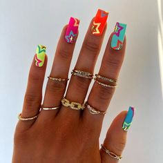 "𝙁𝙧𝙚𝙚 𝙃𝙖𝙣𝙙 𝙉𝙖𝙞𝙡 𝘼𝙧𝙩 🎨 on Instagram: ""DAY 5- Summer Stars 🤩🌈🌟 . . . #nail #nails #nailsofinstagram #nailart #nailporn #nailpro #naildesigns #nailsonfleek #nailsoftheday…"""
