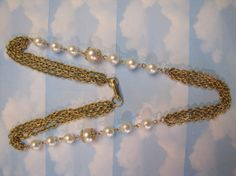 Vintage Gold Tone Faux Pearls and Chains Necklace by themagickcat, $13.13