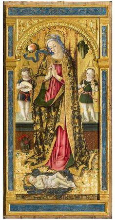 V. Crivelli Madonna adorante il bambino Falerone Chiesa di S. Fortunato Religious Images, Religious Art, Hail Holy Queen, Italian Renaissance Art, Christian Artwork, Blessed Mother Mary, Madonna And Child, Albrecht Durer, Catholic Saints