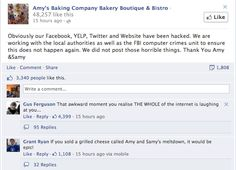 UPDATE: As of Tuesday night, Amy's Baking Company claim their social media pages were hacked and that they were not responsible for the comments on their page. | This Is The Most Epic Brand Meltdown On Facebook Ever