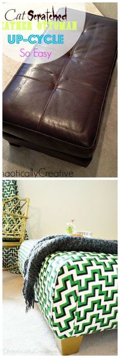 Recovering An Ottoman @chaoticallycrea/ with HGTV fabric that can be found at OnlineFabricStore.net