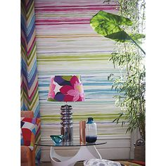 Scion Zing wallpaper - alternating colourways in Peony/Acid/Sunset and Moss/Marine/Cement applied horizontally Hall Wallpaper, Wallpaper Online, Multicoloured Wallpaper, Green Vans, Scion, Image Shows, Brush Strokes, Accessories Shop, Interior Inspiration