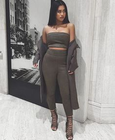Off the shoulder bandeau and high waist slim pant two piece suede outfit. Details Cotton, Polyester Velour Imported Delicate, Cold Wash Fits True To Size Boujee Outfits, Casual School Outfits, Club Outfits, Night Outfits, Fashion Outfits, Women's Fashion, Lazy Fashion, Fashion Night, Fashion Killa