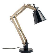 Tischlampe Retro Holz und Eisen, dunkelgrau von Nordal, 119,00 €